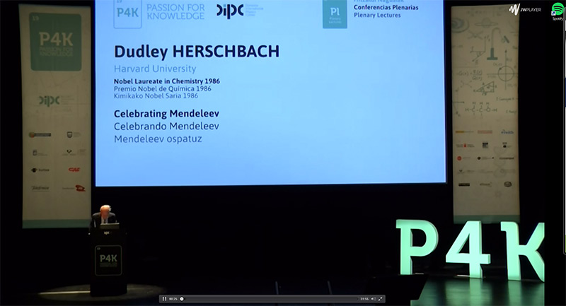Dudley Hershbach Nobel sariak Wolframari buruz hitz egiten