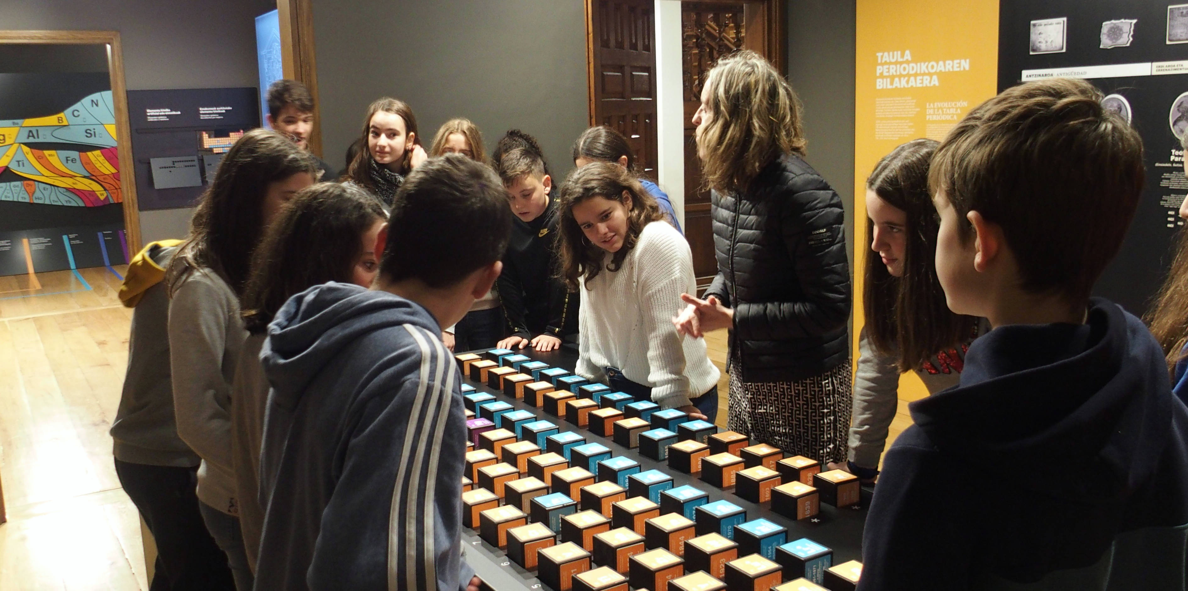 Students visiting the temporary exhibition on the periodic table.